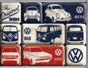VW Volkswagen Original Ride set of 9 mini fridge magnets in box (na)